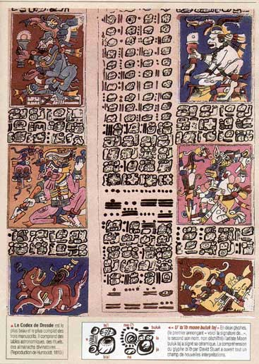 Pictures of Mayan glyphs